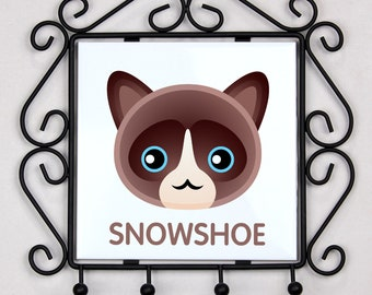 A key rack, hangers with Snowshoe cat. A new collection with the cute Art-dog cat
