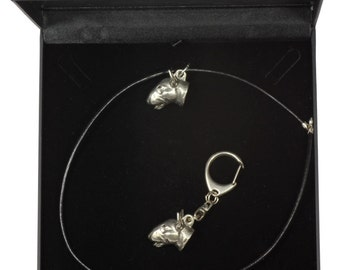 NEW, Bull terrier (3D medallion), English Bull Terrier, dog keyring and necklace in casket, DELUXE set, limited edition, ArtDog