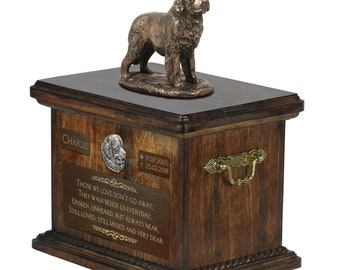 Newfoundland - Exclusive Urn for dog ashes with a statue, relief and inscription. ART-DOG. Cremation box, Custom urn.