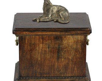 Urn for dog's ashes with a Borzoi lying statue, ART-DOG Cremation box, Custom urn.