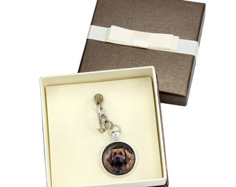 Leoneberger. Keyring, keychain with box for dog lovers. Photo jewellery. Men's jewellery. Handmade.