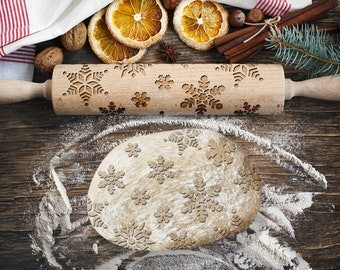 SNOWFLAKES. Engraved rolling pin for Cookies, Embossing Rollingpin, Laser Engraved Rolling-pin. Decorating Roller