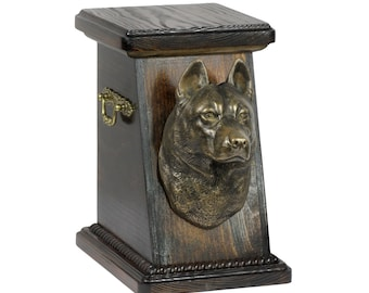 Urn for dog's ashes with a Siberian Husky, ART-DOG Cremation box, Custom urn.