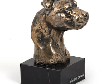 American Staffordshire Terrier (small), dog marble statue, limited edition, ArtDog. Made of cold cast bronze. Perfect gift. Limited edition
