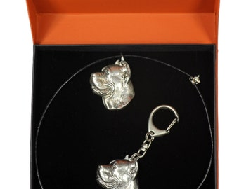 NEW, Cane Corso, dog keyring and necklace in casket, PRESTIGE set, limited edition, ArtDog . Dog keyring for dog lovers
