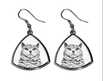 Selkirk rex shorthaired, collection of earrings with images of purebred cats, unique gift. Collection!