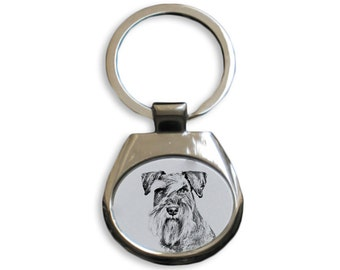 Schnauzer uncropped -  NEW collection of keyrings with images of purebred dogs, unique gift, sublimation . Dog keyring for dog lovers