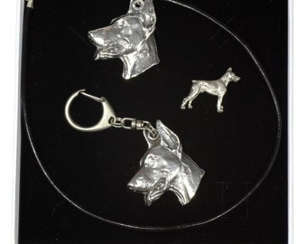 NEW, Dobermann, dog keyring, necklace and pin in casket, ELEGANCE set, limited edition, ArtDog . Dog keyring for dog lovers
