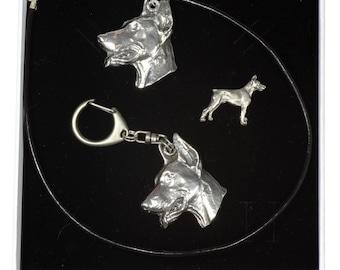 NEW, Dobermann, dog keyring, necklace and pin in casket, ELEGANCE set, limited edition, ArtDog . Dog keyring for dog lovers