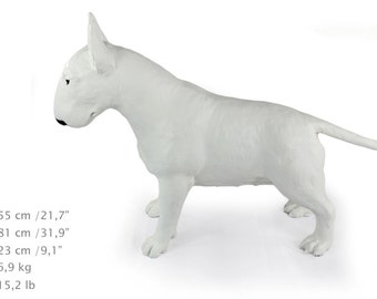 Bull Terrier (white), dog natural size statue, limited edition, ArtDog