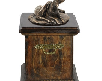 Urn for dog's ashes with a Weimaraner statue, ART-DOG Cremation box, Custom urn.
