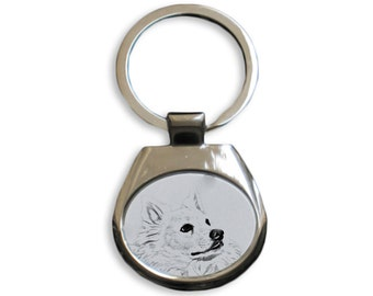 American eskimo dog - NEW collection of keyrings with images of purebred dogs, unique gift, sublimation . Dog keyring for dog lovers