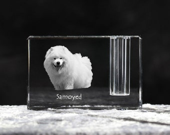 Samoyed, crystal pen holder with dog, souvenir, decoration, limited edition, Collection