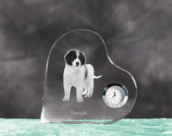 Tronjak- crystal clock in the shape of a heart with the image of a pure-bred dog.