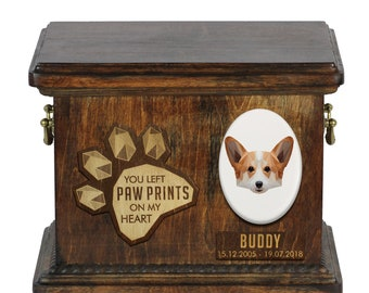 Urn for dog ashes with ceramic plate and sentence - Geometric Welsh corgi cardigan, ART-DOG. Cremation box, Custom urn.