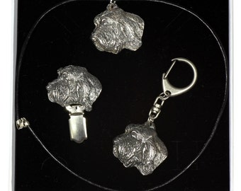 NEW, Grand Basset Griffon Vendeen, dog keyring, necklace and clipring in casket, ELEGANCE set, limited edition, ArtDog