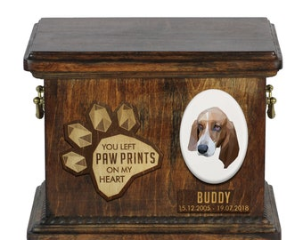 Urn for dog ashes with ceramic plate and sentence - Geometric Basset Hound, ART-DOG. Cremation box, Custom urn.