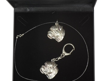 NEW, Bullmastiff, dog keyring and necklace in casket, DELUXE set, limited edition, ArtDog . Dog keyring for dog lovers