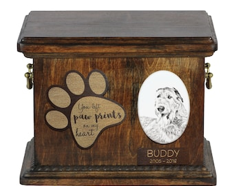 Urn for dog's ashes with ceramic plate and description - Irish Wolfhound, ART-DOG Cremation box, Custom urn.