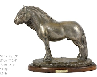 Fell ponny (stallion), horse wooden base statue, limited edition, ArtDog