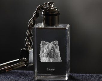 Eurasier  , Dog Crystal Keyring, Keychain, High Quality, Exceptional Gift . Dog keyring for dog lovers
