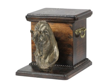 Urn for horse ashes with a standing statue -Fresian horse, ART-DOG Cremation box, Custom urn.