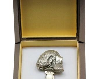 NEW, Bedlington Terrier, dog clipring, in casket, dog show ring clip/number holder, limited edition, ArtDog