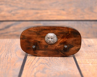 Bichon Frise- Unique wooden hanger with a relief of a purebred dog. Perfect for a collar, harness or leash.
