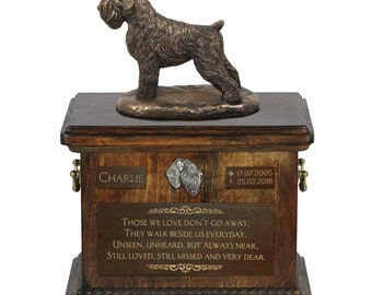 New model Cremation box ART-DOG Exclusive Urn for dog\u2019s ashes with a Pekingese statue Custom urn.