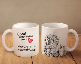 "Norwegian Forest cat - mug with a cat and description:""Good morning and love..."" High quality ceramic mug. Dog Lover Gift, Christmas Gift"