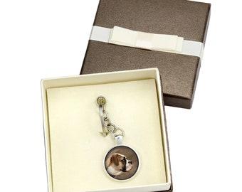 American Bulldog. Keyring, keychain with box for dog lovers. Photo jewellery. Men's jewellery. Handmade.