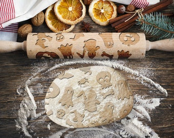 CUTE HALLOWEEN. Engraved rolling pin for Cookies, Embossing Rollingpin, Laser Engraved Rolling-pin. Decorating Roller
