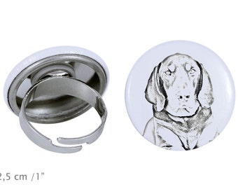 Ring with a dog- Black and tan coonhound