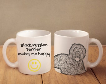 """Black Russian Terrier - mug with a dog and description:""""... makes me happy"""" High quality ceramic mug. Dog Lover Gift, Christmas Gift"""