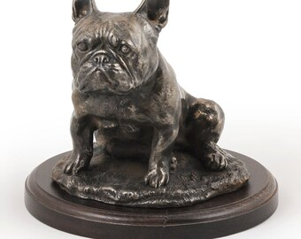 French Bulldog (sitting), dog wooden base statue, limited edition, ArtDog