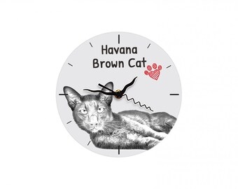 Havana Brown, Free standing MDF floor clock with an image of a cat.
