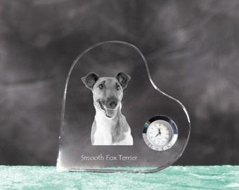 Smooth Fox Terrier- crystal clock in the shape of a heart with the image of a pure-bred dog.