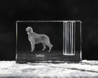 Setter, crystal pen holder with dog, souvenir, decoration, limited edition, Collection