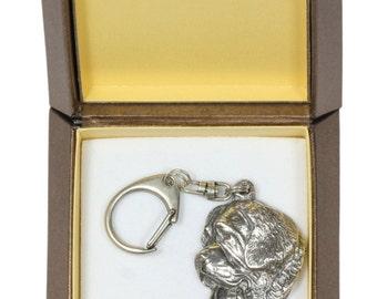 NEW, Saint Bernard, dog keyring, key holder, in casket, limited edition, ArtDog . Dog keyring for dog lovers