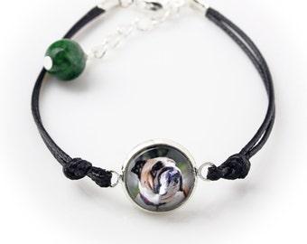 Bulldog, English Bulldog. Bracelet for people who love dogs. Photojewelry. Handmade.
