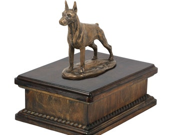 Exclusive Urn for dog's ashes with a Dobermann cropped statue, ART-DOG. New model Cremation box, Custom urn.