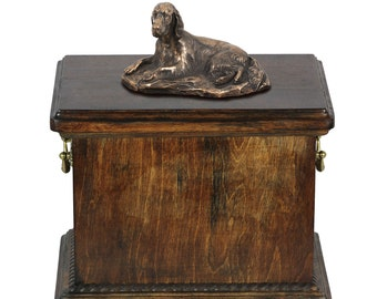 Urn for dog's ashes with a Setter lying statue, ART-DOG Cremation box, Custom urn.