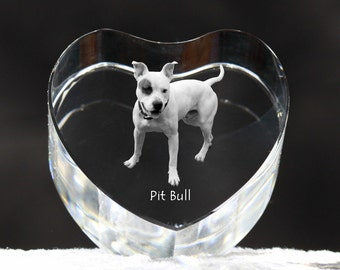 American Pit Bull Terrier , crystal heart with dog, souvenir, decoration, limited edition, Collection