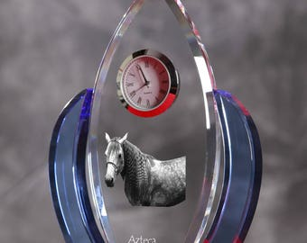 Azteca horse-   crystal clock in the shape of a wings with the image of a pure-bred horse.