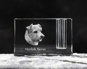 Norfolk Terrier, crystal pen holder with dog, souvenir, decoration, limited edition, Collection