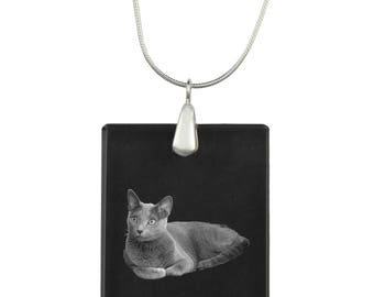 Russian Blue, cat Crystal Pendant, SIlver Necklace 925, High Quality, Exceptional Gift, Collection!
