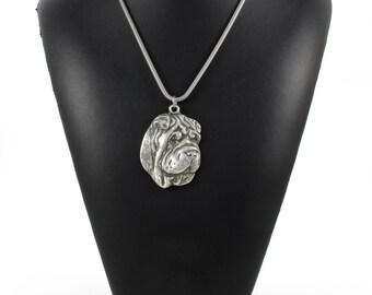 NEW, Shar-Pei, Chinese Shar-Pei, silver hallmark 925, dog silver necklace, silver cord 925, limited edition, ArtDog