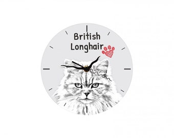 British longhair, Free standing MDF floor clock with an image of a cat.