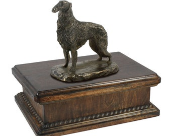 Exclusive Urn for dog's ashes with a Borzoi, Russian Wolfhound statue, ART-DOG. New model Cremation box, Custom urn.