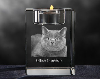 British Shorthair, crystal candlestick with cat, souvenir, decoration, limited edition, Collection